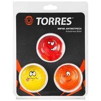 Эспандер кистевой TORRES антистресс, 3 мяча d6,5 см, полиуретан, цвет красный/жёлтый/оранжевый