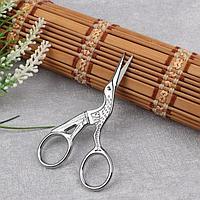 """Ножницы для вышивания «Цапельки», 3,5"""", 9 см, цвет серебряный"""