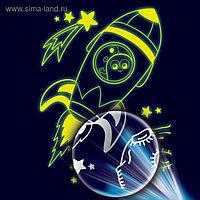 Лунная гравюра «Ракета в космосе» 14,8х21 см