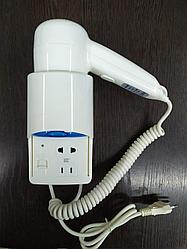 Фен настенный вертикальный с дополнительной розеткой и индикатором1200W