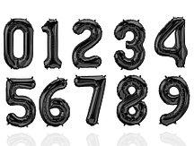 Воздушные шары цифры черные 71 сантиметр, от 0 до 9