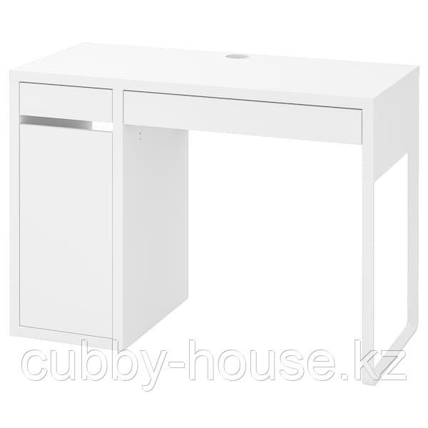 МИККЕ Письменный стол, белый, (белёный дуб, чёрно-коричневый) 105x50 см