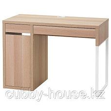 МИККЕ Письменный стол, белый, (белёный дуб, чёрно-коричневый) 105x50 см, фото 2
