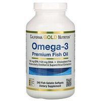 California Gold Nutrition, омега-3, рыбий жир премиального качества, 240 капсул из рыбьего желатина