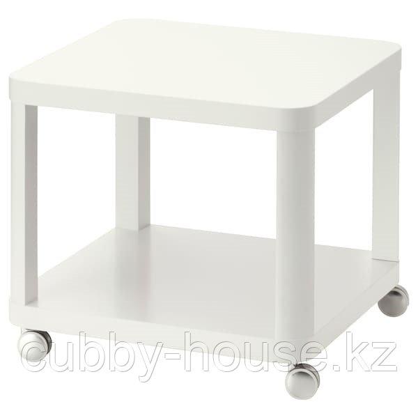 ТИНГБИ Стол приставной на колесиках, белый, (красный, серый) 50x50 см