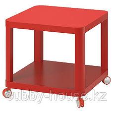ТИНГБИ Стол приставной на колесиках, белый, (красный, серый) 50x50 см, фото 2