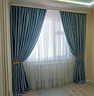 """Шторы в гостиную MarkizaTaraz 350х290 бархатные с тюлем """"грек-сетка"""""""