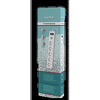 Сетевой фильтр с USB 10А, 5 гнёзд, с з/ш, земля, ПВС 3х0.75, 3м, белый Smartbuy
