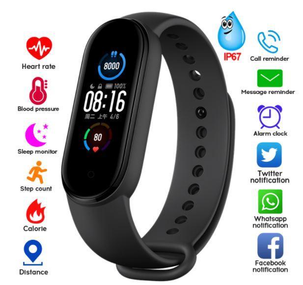 Умный браслет здоровья M5 Pro. Давления, пульс, кислород в крови, шаги, часы.