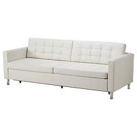 Диван-кровать 3-мест ЛАНДСКРУНА с секц д/хран, белый , металл ИКЕА, IKEA
