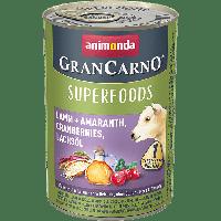 Консервы GranCarno Superfoods с ягненком + амарант, клюква, лососевое масло для взрослых собак (400 гр.)
