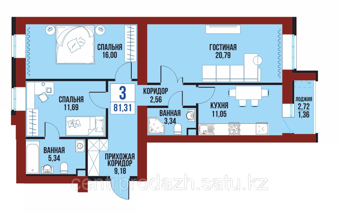"""3 ком в ЖК """"Балкадиша"""" 81.31 м²"""