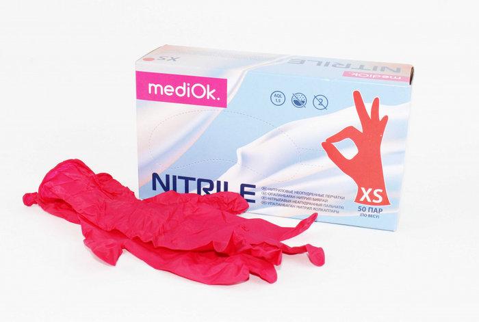 Перчатки нитриловые MediOk смотровые неопудренные, Красный, размер XS, уп 100 шт