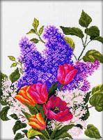 """Набор для вышивания крестом """"Сирень и тюльпаны"""""""