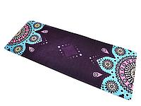 Коврик для фитнеса замшевый 183*68*0.3 см, с мандалой, фиолетовый