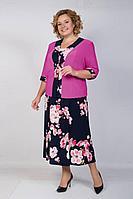Женский летний большого размера комплект с платьем TrikoTex Stil 04-18 сиреневый 54р.