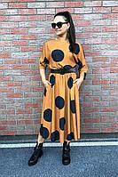 Женское осеннее оранжевое платье Le Collect 225 горчичный 46р.