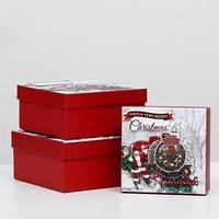 Набор коробок 3 в 1 'Санта экспресс', 20 х 20 х 9,5 - 15,5 х 15,5 х 7,5 см