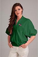 Женская осенняя хлопковая зеленая блуза Таир-Гранд 62264 хаки 44р.