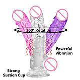 Вибратор - ротатор прозрачный перезаряжаемый гелевый, фото 2