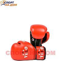 Бокс перчатки Velo AIBA (кожа-красный) 14 OZ