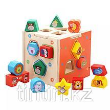 Деревянный развивающий куб-сортер, фото 2