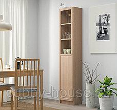 BILLY БИЛЛИ / OXBERG ОКСБЕРГ Стеллаж/панельная/стеклянная дверь, дубовый шпон 40x30x202 см, фото 3