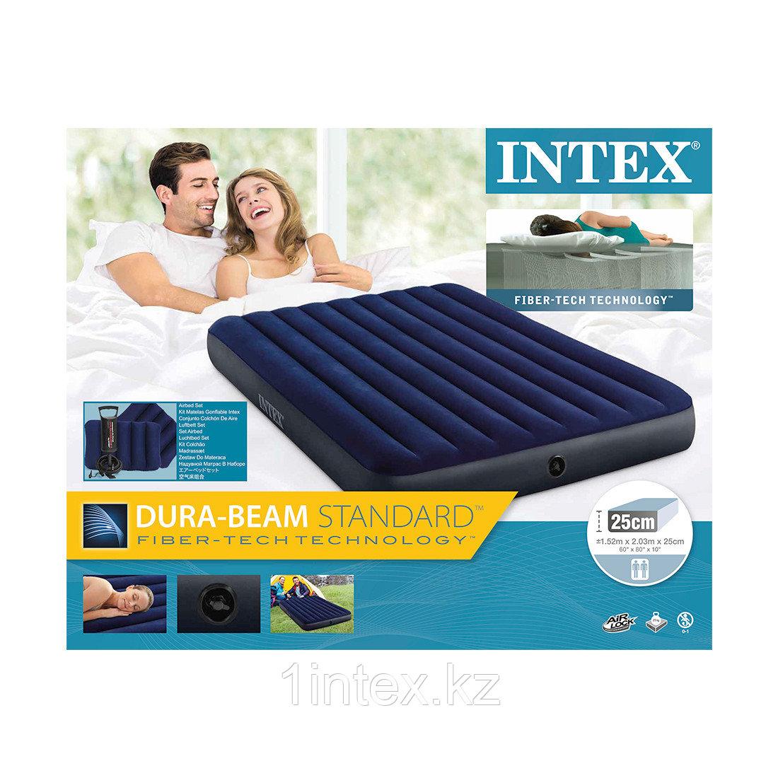 Надувной матрас двуспальный с подушками и насосом 152х203х25 см Intex
