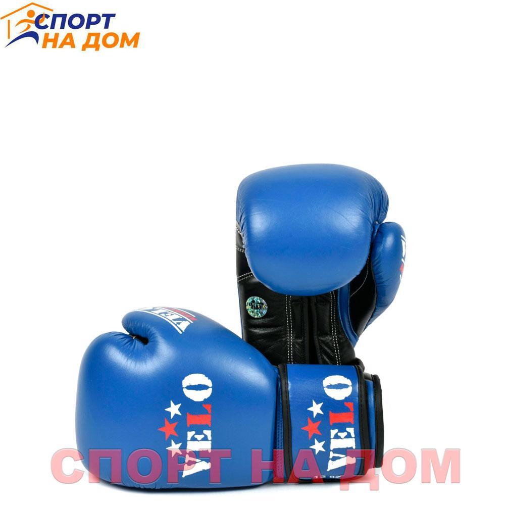 Бокс перчатки Velo AIBA (кожа-синий) 14 OZ