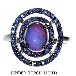 Кольцо с Опалом и Сапфирами бриллиантовой огранки