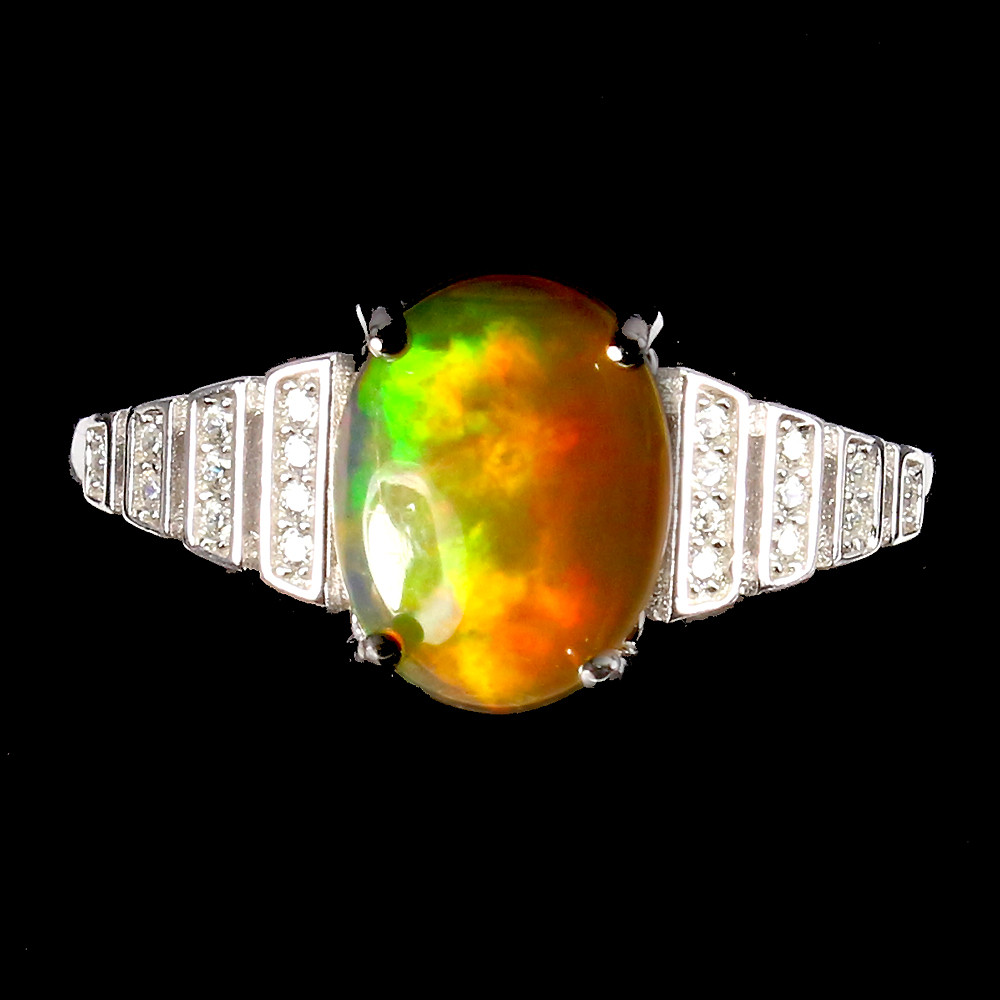 Кольцо с натуральным Опалом 10 мм