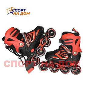 Детские раздвижные роликовые коньки (красные-размер 31-34) S
