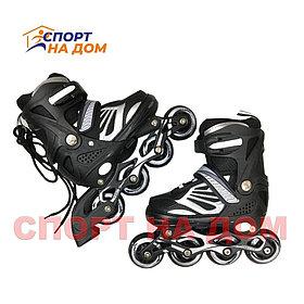 Детские раздвижные роликовые коньки (черные-размер 31-34) S