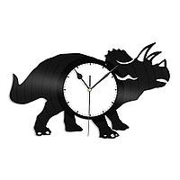 Настенные часы из пластинки Динозавр Трицератопс, подарок любителю, 1322