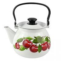"""Чайник эмалированный сферич. """"Вишневый сад"""" 3 литра"""