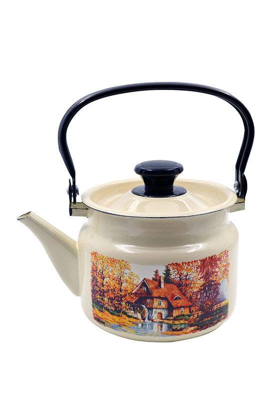 """Чайник эмалированный цилиндр. """"Старая мельница"""" 2 литра"""