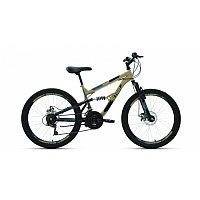 """Велосипед ALTAIR MTB FS 24 disc (24"""" 18 ск. рост 15"""") 2020-2021, бежевый/черный, RBKT1F14E002"""