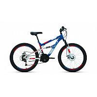 """Велосипед ALTAIR MTB FS 24 disc (24"""" 18 ск. рост 15"""") 2020-2021, синий/красный, RBKT1F14E004"""
