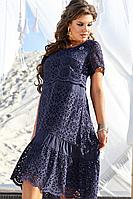 Женское летнее хлопковое синее нарядное большого размера платье Vittoria Queen 12233 50р.