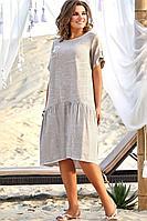 Женское летнее хлопковое бежевое нарядное платье Vittoria Queen 12723 46р.