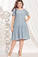 Женское летнее хлопковое голубое нарядное платье Vittoria Queen 12723/1 46р.