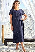 Женское летнее хлопковое синее нарядное большого размера платье Vittoria Queen 12693 50р.