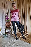 Женская осенняя атласная розовая блуза Arisha 2033 розовый 44р.