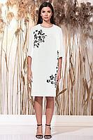 Женское летнее льняное белое большого размера платье Faufilure С1156 белый 54р.
