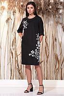 Женское летнее льняное черное большого размера платье Faufilure С1156 черный 54р.