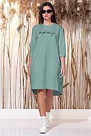 Женское летнее трикотажное бирюзовое платье Faufilure С1157 бирюза 44р.