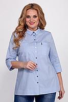 Женская осенняя хлопковая голубая большого размера блуза Emilia 408/7 52р.