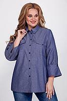 Женская осенняя хлопковая синяя большого размера блуза Emilia 525/1 48р.