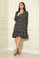 Женское летнее черное платье Andrea Fashion AF-124 черный+пятно 44р.