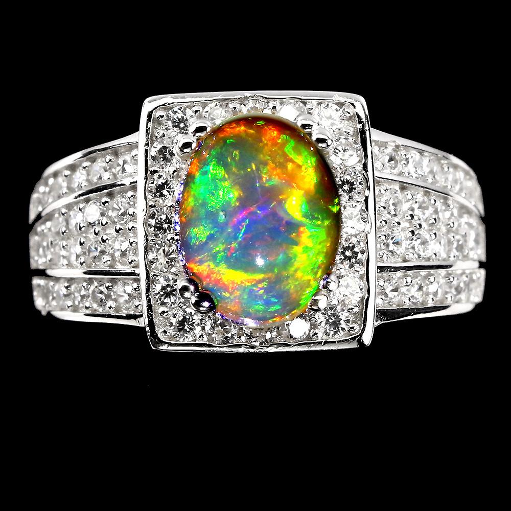 Роскошное кольцо с огненным Опалом